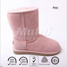 Pink sheepskin winter boot