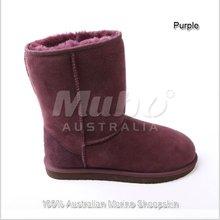 Purple sheepskin leather women's snow boots