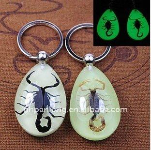 Fashion Amber Specimen Scorpion keyring noctilucent key ring couple animal keychain promotional key chain