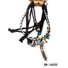 Elegant leather&alloy charm braclets