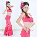 Rose laço roupa dança do ventre, dança do ventre roupas, dança do ventre trajes