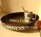 Fancy round black melamine bar serving tray