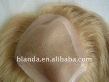 European Men's human hair toupee mono filament lace
