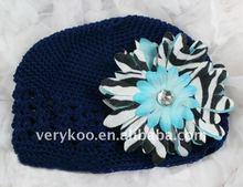 Baby Crochet Kufi Hats with a Zebra Daisy Flower (FCK-103470380-K)
