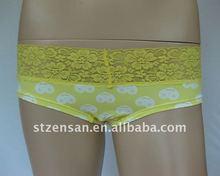 Smile Face Print Boyshort with Lace Trim Underwear