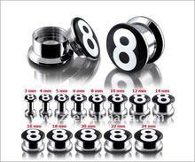 316l stainless steel internally thread No.8 logo pictures screw on ear flesh tunnel, fashion flesh tunnel ear plugs