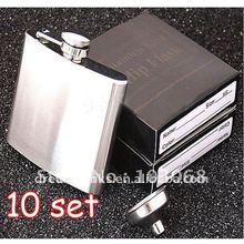 10SET/LOT New In Retail Box Stainless Steel Pocket Drink Hip Flask Wine Set /wine pot / flagon 5OZ 304#