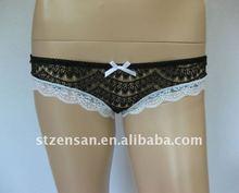 100%nylon lace boyshort with bows underwear