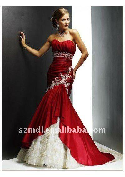 Mermaid Sweetheart Neckline Chapel Train Wine Red Taffeta Wedding Dress MY08