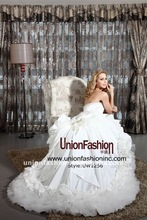 Crazy Hot 2012 new arrived fashionable and fantastic Taiwan taffeta,Japan organza bridal wedding gown UW1256