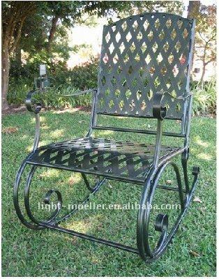 Forjado mecedora de hierro silla LMRC-51001
