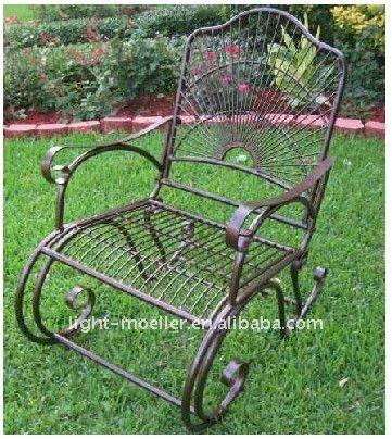 Forjado mecedora de hierro silla lmrc 51003 conjuntos de - Mecedoras para jardin ...