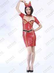 Red latex military dress with hood ,fashionable