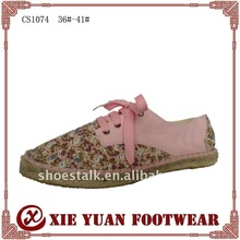 womens lace-up small flowers canvas casual shoes