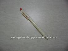white plastic long ballpoint pen
