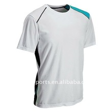 Top sale EURO style 2012 men's cooldry Sports T shirt/jersey/top in contrast color insert and piping with DTM top stitching