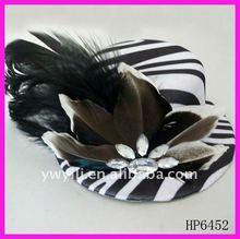zebra-stripe feather hat hair clip