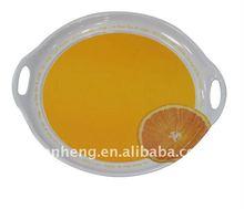 yellow round melamine serving tray