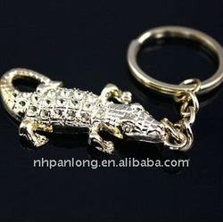 Fashion silver crocodile keychain new design keyring metal key chain parts