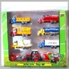 Pull back die cast metal farmer tractor with 6 trucks H08383-3