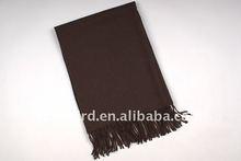 plain wool shawl scarf with crochet fringe