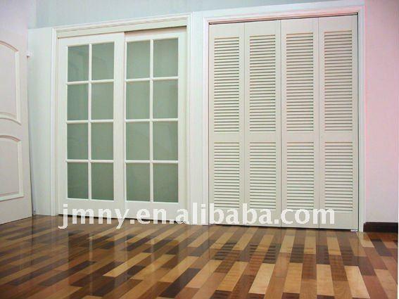 De madera puerta corrediza de vidrio persiana de madera for Puerta tipo louver