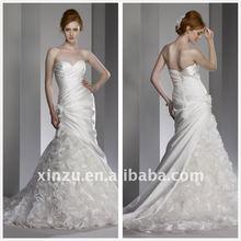 Elegant Long Train Pleated Asymmetrically Wrap Sweetheart Mermaid Wedding Dress T-1127870