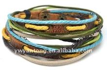 Newest 2012 lady's fashion leather cord bracelet