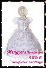 Lovely Appliqued Organza Hotsale Short sleeve Christening dresses