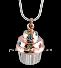 Fashion copper gold and silver double plated cupcake necklace(1105558)