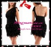 2012 Single shoulder Black Chiffon MIni Fashionable cocktail dress