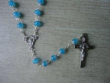 Céu azul pedra rosário colar com receptáculo de negócio bonita presentes colar do rosário