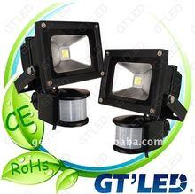 High Power 10w Sensor Flood Light Led Module Sensor 10W LED Flood Light IP65 Alluminum Alloy And Armoured Glass From GT'LED