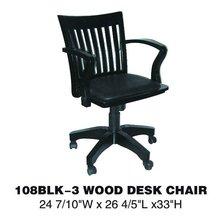 Height adjustable swivel wood desk chair 108BLK-3