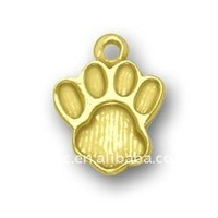 gold plated large paw print jewelry charms