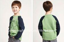 children fashion long sleeve print green t shirt
