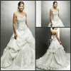 Modest Ruffle Chapel Train Applique Empire Sweetheart Bridal Wedding Dress