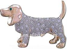 champagne gold plating rhinestone basset hound dog brooch pin