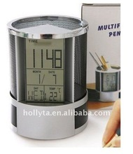 Jumbo LCD Music Alarm Clock with day/date calendar and Thermometer