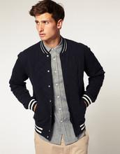 2015 Hot selling fashion casual mens Wool Varsity Jackets/coats