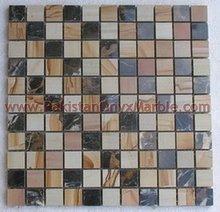 Foshan hot sale building material 300x300mm carrara marble mosaic tile,/ BLACK AND GOLD ( MICAHEL ANGELO ) MOSAIC TILES