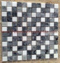 natural stone wall decoration kitchen backsplash tile marble mosaic tile/JET BLACK MARBLE MOSAIC TILES
