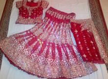 Pink Designer Bridal Red Anarkali lehenga for sale