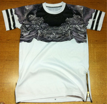 2014 fashion sublimation t-shirt with leather stripes of both sleeves