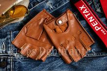 Men's Brown Leather Driving Fingerless Gloves
