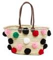 fabuloso marroquíes hechos a mano de playa de paja cesta de bolsa grande con pompones