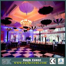 economic used portable event dance flooring 3ft*3ft black tiles