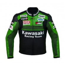 Kawasaki Racing Team Motorcycle Moto Racing Jacket_ ( Full Safety Motorbike Leather Jacket)