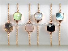 Natural Gemstone Gold Plated Bezel Set Bracelet