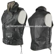 Men leather biker vest, leather vest / leather waist coat,2014 Biker leather vest / Wholesale custom leather